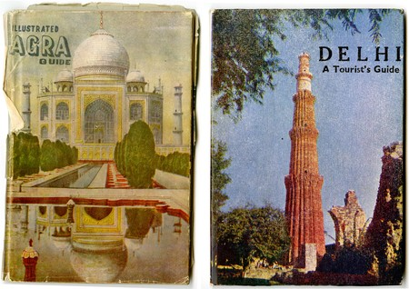 Covers of tourist guides to Agra and Delhi.
