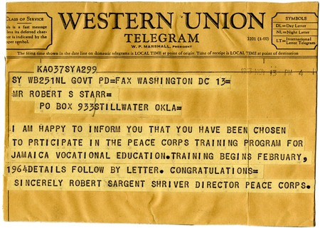 Telegram to Robert Starr from Sargent Shriver notifying him of his assignment as a Vocational Education volunteer in Jamaica, 13 November 1963.