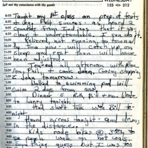 Winifred Boge's diary page from 2 June 1965 discussing teaching her first class on food preparation and her daily activities.
