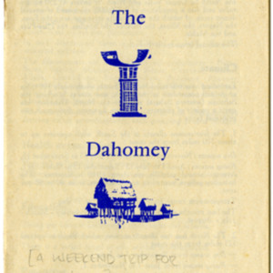 Travel brochure from Thomas Hebert's weekend trip to The Dahomey for escargot.