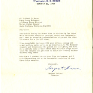 Letter from Peace Corps Director, Sargent Shriver, thanking Richard Burns for his action and bravery during a forest fire in Santo Domingo, Dominican Republic dated 22 October 1964.