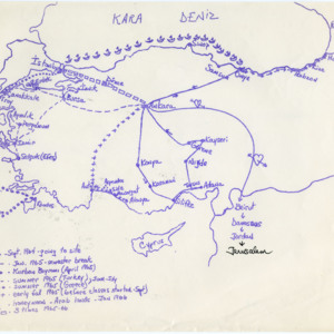 Hand-drawn map of places Ed and Karen DeAntoni visited during their Peace Corps service.