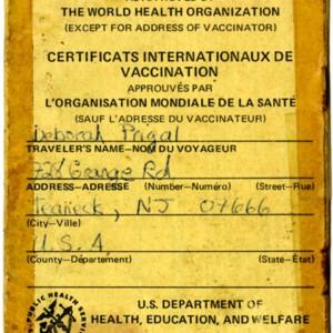 Debby Prigal's International Vaccination Certificate.