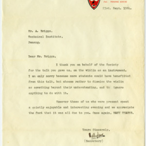 Letter from the secretary of the Music and Drama Society at the Penang Free School thanking Albert Briggs for his violin lecture.