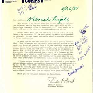 Letter from the Peace Corps Placement Manager, Linda P. Borst, informing Debby Prigal of her eligibility for volunteer service dated 26  March 1981.